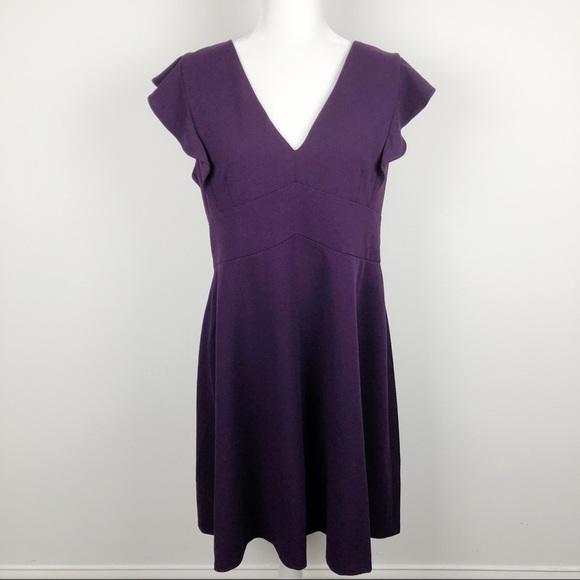 NWT DKNY Flutter Sleeve Fit & Flare Purple Dress